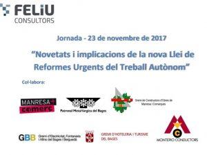 """JORNADA: """"Novetats i implicacions de la nova Llei de Reformes Urgents del Treball Autònom""""."""